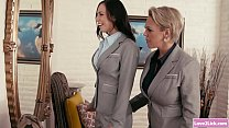 Lesbian boss flirts with her secretary and lick...