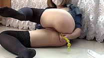 Blonde in stockings on the floor fucks anal and...