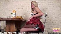 Blonde schoolgirl Sascha flashing her striped p...
