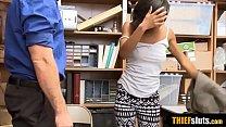 Cute ebony shoplifter chick got caught in the m...