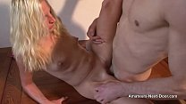 Tiny boobed wife takes huge cumshot over body w...