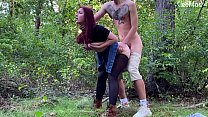 Outdoor public sex and blowjob with beautiful g...