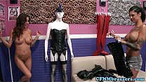 Watch Femdom inked squirter in_threesome preview