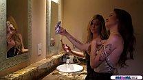 Teen gfs taking selfies in the bathroom of a ba...