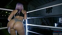 Big booty ebony gym babe works out and striptease