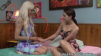 Two teen lesbians in scissoring action