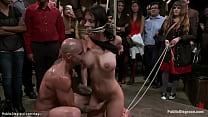 Tied big boobs brunette slave Brandy Aniston ge...