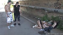 Brunette mistress vibrates pussy to tied blonde...