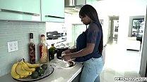Stunning ebony stepmom whips out her big tits i...