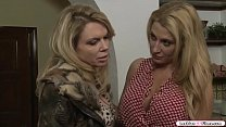 Busty milf and her friend get home from the gro...