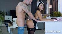 Busty brunette Lana Roy dons a kinky maid unifo...
