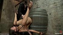 Bound Asian slave Jayden Lee on a barrel gets b...