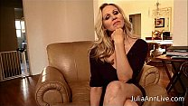 Busty Blonde Milf Julia Ann knows you have been bad, she is ready to make you cum as she fingers her pussy! See the full video and get access to Julia's live member shows! Thumbnail