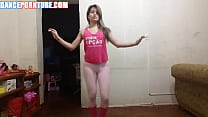 latina doing a sexy dance while wearing spandex...