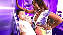 Ebony milf catches her stepson fooling around a...