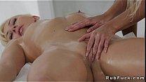 Blonde on blonde lesbian sex on massage table