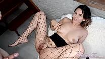 Brunette in Stockings Sucking Big Dick And Fucks
