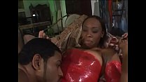 Young black slut gets her twat drilled by muscu...