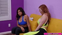 Busty latina and her yoga instructor are on the...