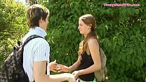 young skinny teen couple, boy and girl just tur...