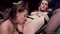 Two brunette slaves getting their mouths fucked...