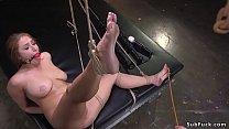 Huge tits slave Skylar Snow in bondage on her k...