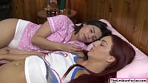 Redhead caregiver licking pussies with her lesb...