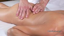 Watch Skinny oiled brunette rides masseur preview