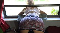 Daddy pulls down panties and cums inside stepda...