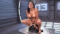 Big fake tits tanned brunette solo beauty Luna ...