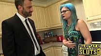 Dirty sub eats cum after BDSM pounding
