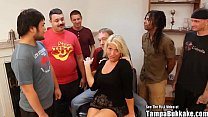 Southern Blonde with big tits gets gangbanged b...