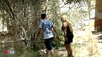 Mature cougar bitch fucked in the woods by a la...