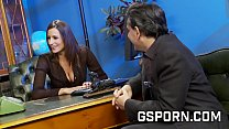 Sex group in the office with 3 secretaries in s...