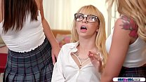 Two horny college girls see a nerdy teen in det...