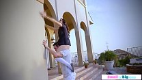 Petite teen clings to her stepdad and fucking h...