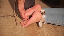 Young girl wants to try to be punished like a slave. A perfect way to feel a_little pain is made by torturing her by whipping the insoles of the bare feet falaka-bastionado Thumbnail