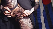 Flashing my Hairy Pussy and Ass in Faux Fishnet...