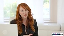 Busty redhead milf boss is fed up by the mistak...