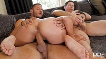Kinky father and son threesome with American po...