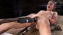 Stunning solo brunette babe Kristen Scott with spreaded legs masturbates with vibrator then in rope bondage takes fucking machine