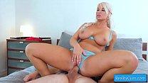 Hot natural busty blondie milf loves huge fat d...