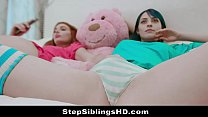 Stepbrother Sees Saucy Sisters Making Out And F...