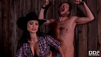 Cowgirl dominatrix Jasmine Jae sucks & wanks du...