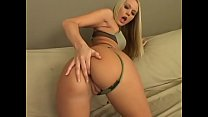 Amazing blond babe rides a huge cock by her ass...