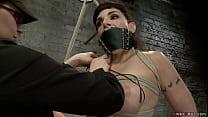 Gagged brunette lesbian slave Annika is bound o...