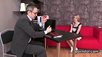 Sultry schoolgirl gets teased and drilled by he...
