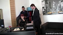 Office whore gets fucked by two guys
