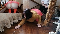 Velma bent over like a little slut on the stair...
