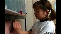Japanese cutie Itsuki Wakana wanks a hard dick ...